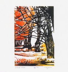 Wood Web, c2000, Sherrie York, reduction method lino-cut printed on Hosho paper, image size 6 x 4 in., USA