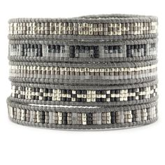 Chan Luu - Light Grey Mix Sectioned Wrap Bracelet on Iceberg Leather, $195.00 (http://www.chanluu.com/wrap-bracelets/light-grey-mix-sectioned-wrap-bracelet-on-iceberg-leather/)