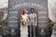 Chalkboard Wedding Altar. Instead of having programs, display your family names and the names of your bridal party front and center on your altar for all your guests to see. http://hative.com/cool-wedding-arch-ideas/