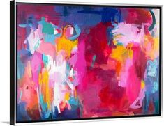 """Contemporary abstract artwork in shades of pink, blue, and yellow. """"Better Together, 2015"""" wall art by Amira Rahim from Great BIG Canvas."""