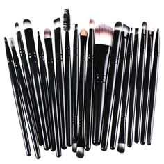 Stylish 20 Pcs Multifunction Plastic Handle Nylon Makeup Brushes Set... (£5.96) ❤ liked on Polyvore featuring beauty products, makeup, makeup tools and makeup brushes