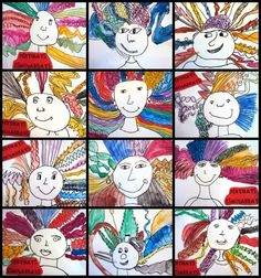 Crazy lines hair with my self portraits & bibliographies Art Activities For Kids, Preschool Art, Art For Kids, Crafts For Kids, Tech Art, Kindergarten Art Lessons, Easy Canvas Art, Art Folder, Art Classroom