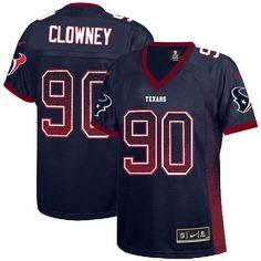 #90 Nike Texans Jadeveon Clowney Navy Blue Team Color Women's Stitched NFL Elite Drift Fashion Jersey