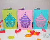 Mini Cupcake Cards Set of Six - Laser-Cut Birthday Cards