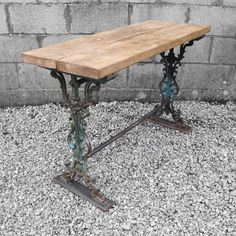 Industrial Cast Iron Old Metal Wooden Rustic Chunky Pine Plank Top Victorian Side Table Hall Sideboard on Etsy, £165.00