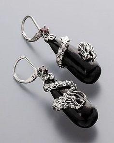 Ö.2758 Ohrhänger 925er Silber oxidiert Jade schwarz Granat