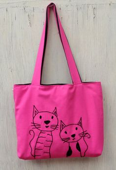 pink bag tote bag frend cats dark pink embroidery by NIARMENA
