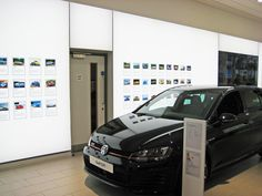 Tension Fabric LED light boxes steer Volkswagen's customers in the right direction. #lightbox #carshowroom #featurelighting