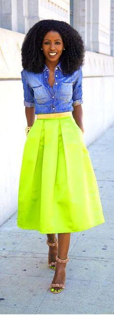 Love this girl's look! Denim Shirt + Neon Box Pleat Midi Skirt / Style Pantry