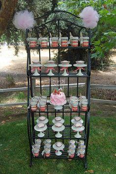 Look Becca! its a bakers rack, lol!  bridal shower idea