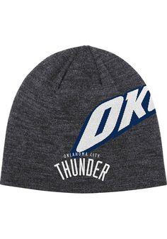 a4a7e357f37 Oklahoma City Thunder Adidas Grey   Navy Authentic Team Reversible Knit Hat  http