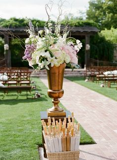 Yes, stylish Asian parasol's as wedding favors and provided to guest as they sit under the hot sun.