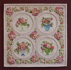 """Bridal Bouquets"", 30x30 cm, by Kumiko Frydl. Beautiful silk ribbon embroidery!"