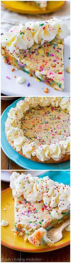 Funfetti Sugar Cookie Cake - soft, chewy, thick, and loaded with sprinkles and white chocolate chips!