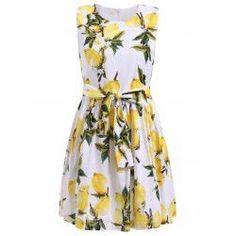 Trendy Women's Sleeveless Lemon Print Bowknot Embellished Mini Dress