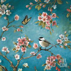 Blossom II Art Print by Lisa Audit at Art.com | Bird on Tree Branches Art | Spring Wall Decor