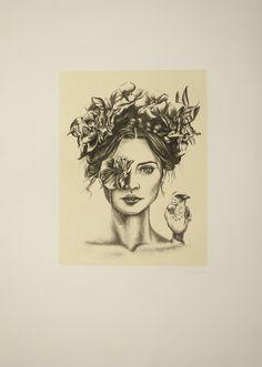 Elisa de la Torre. See me Not. --Grabado, litografía, dibujo, mujer, pájaro, flores, arte, ilustración.