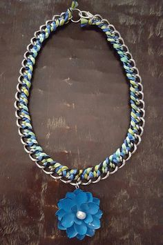 Blue and Green Braided Silver Chain Necklace by FindingLifeDesigns