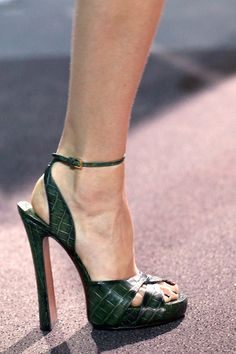 LV Croco Sandals  Military Green Fall 2013