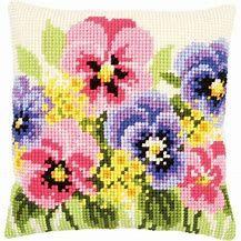 Front Cushion: Violettes From Vervaco - Cushions - Cross-Stitch Kits Kits - Casa Cenina Fil Dmc, Cross Stitch Cushion, Cushion Inserts, Chart Design, Needlepoint Kits, Counted Cross Stitch Kits, Cushions, Pillows, Le Point