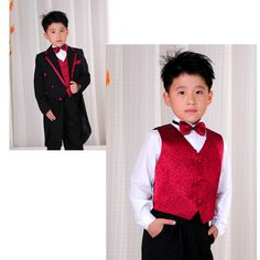 8 Piece Black Red Double Breasted Boys Dress Tail Suit Tuxedo Outfit SKU-132034