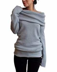 Minetom Damen Herbst Winter Strick Off-Shoulder Sweatshirt Stretch Pullover Sweater Tunika – Styling Tipps