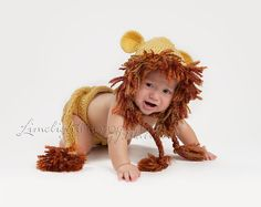 Lion Earflap Hat and Adjustable Diaper Cover Gift by crochetmyway, $40.00