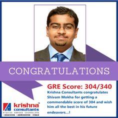 Krishna Consultants congratulates Shivam Mokha for getting a commendable score of 304 IN #GRE. #studyabroad