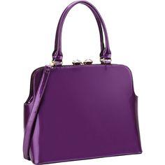 Dasein Rhinestone Kiss Lock Satchel - Purple - Satchels ($46) ❤ liked on Polyvore featuring bags, handbags, purple, purple satchel handbag, rhinestone studded handbags, rhinestone handbags, studded purse and faux-leather handbags