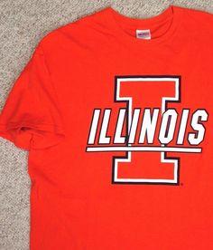 ILLINOIS FIGHTING ILLINI T-SHIRT Orange 100%Cotton Mens/UNISEX-ADULT XL #Gildan #IllinoisFightingIllini