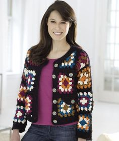 Granny Square Jacket Crochet Pattern | Red Heart - I would add another row or two at the bottom to make it longer, but overall I like it.
