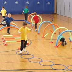 WeeKidz Challenge Course // I bet you could do this same thing with hula hoops and pool noodles
