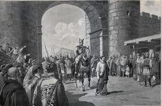 PROCLAMACIÓN DE SIGERÍCO EN BARCELONA ( AÑO 415 ).   Muerto Ataúlfo ,los jefes godos eligen por caudillo a Sigerico, quien cree atraerse las simpatias de su pueblo mostrándose cruel con los hijos de su antecesor ,a los cuales manda matar, y con Gala Placidía  , a la que obliga a caminar doce millas a pie delante de su caballo y cubierto el cuerpo de arapos. Esa conducta sublevo los ánimos , y a los siete días de reinar ,un puñal acabo con él .