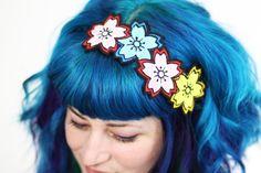Cherry Blossom Headband, Sakura Headband, Japan Kawaii, Pink, blue & yellow by JanineBasil on Etsy https://www.etsy.com/listing/78814056/cherry-blossom-headband-sakura-headband