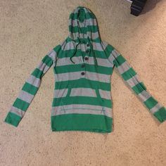 Shirt Pull-over warm green and gray striped shirt with front pockets wooden style buttons and a hood that adjusts with strings like a hoodie worn only twice but is super comfy and really really warm SO Tops