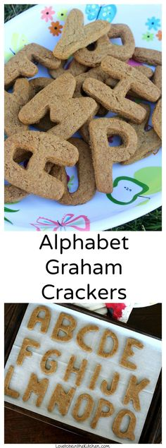 "Alphabet Graham Crackers are such a fun and delicious way to spell out whatever words you would like! From ""Happy Birthday"" to ""Congratulations"" or spelling your child's name, the options are endless! This is also a great way to teach little ones the alphabet. You can even go an extra step and cover it with melted chocolate and sprinkles to make it more festive and tasty!"
