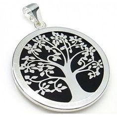 Colgante de plata de primera ley con fondo negro y un árbol de la vida en plata, de 40 mm de diámetro
