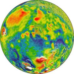 New Gravity Map Gives Best View Yet Inside Mars. A map of Martian gravity looking down on the North Pole (center). White and red are areas of higher gravity; blue indicates areas of lower gravity.