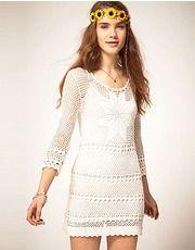 Outstanding Crochet: Pepe Jeans Crochet Dress With Long Sleeves Pepe Jeans, Moda Crochet, Knit Crochet, Crochet Headband Pattern, Bodycon, Fashion Clothes Online, Crochet Woman, Knitting Designs, Ladies Day