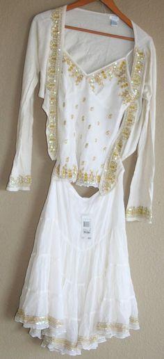 New Aqua 3 Pc Outfit Ivory Gold Sequin Trim Skirt Sexy Tank Bolero Wrap Silk Med #Aqua