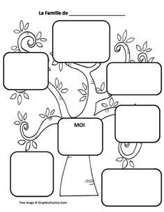 new ideas family tree drawing products French Language Lessons, French Language Learning, French Lessons, English Lessons, French Flashcards, French Worksheets, Teaching French, Family Tree Drawing, Graphic Organizers