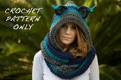 CROCHET PATTERN Cat Scarf, Scoodie, Hooded Scarf with Cat Ears, Animal Scarf, Instant Download. $4.00, via Etsy.