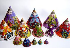 Free printable Russian cone dolls.