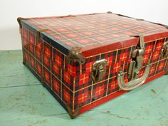 Vintage Red Plaid Metal Roller Skate Case by buckeyesandbluegrass