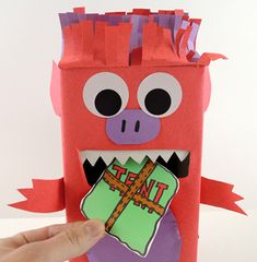 Pack your tents and hit the great outdoors. But keep an eye on Monster…he tends to eat the equipment! Book Projects, Projects For Kids, Monster Box, Eye Stickers, Packing Boxes, Camping Equipment, Tissue Boxes, Go Camping, Masking Tape