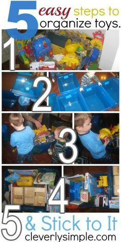 5 easy steps to organize toys.