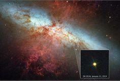 Telescópio Hubble fotografa Supernova que surpreende pelo brilho A explosão da estrela foi fotografada pelo telescópio Hubble e é a mais brilhante dos últimos 27 anos. Jovens da Universidade de Londres foram os primeiros a vê-la. http://gagicrc.com/media/investciencia/telescopio-hubble-fotografa-supernova-que-surpreende-pelo-brilho/