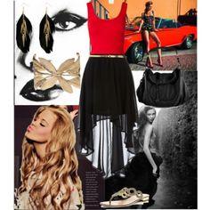 Red Tank Top + Gold Skinny Belt + Black High Low Skirt + Black Leather Satchel