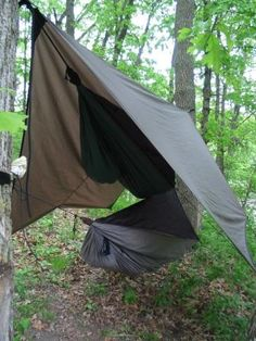 DIY Hammock. There are lots of variations on this. Check out the whole site and hammockforums.net
