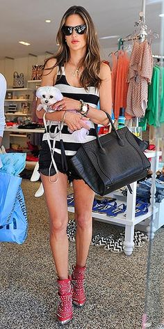 STUDDED BOOTS photo | Alessandra Ambrosio  {What a darling Maltese!}